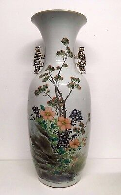 Large  Late 19 Th Century Chinese Famille Rose Qianjiang Vase Artist Mark 58 Cm