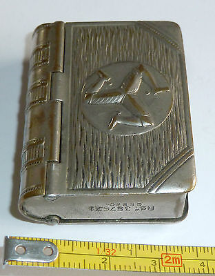 A Vintage Silver Tone Isle Of Man Match & Stamp Holder