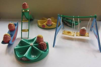vintage weeble toys 1 elephant 7 people play park swing roundabout etc...70's