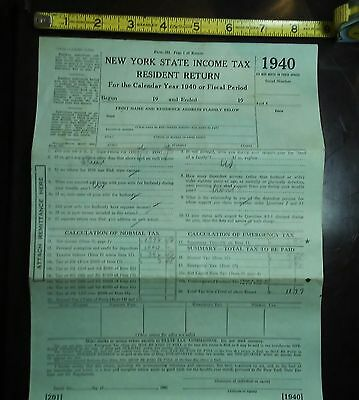 Vintage papers NEW YORK 1940 tax return form 201 HISTORIC DOCUMENTS