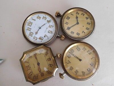 F4 Four Antique Car Travel Clocks Art Deco Vintage 8 Day Automobile Dash Mount