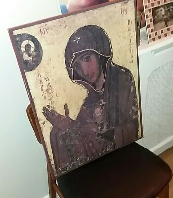 large vintage 80's greek ? Religious icon plaque picture Madonna ? Lovely item