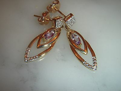 Stunning Pair Of 9 Ct Gold Amethyst And Diamond Drop Earrings