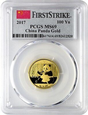 CHINA PANDA GOLD - FIRST STRIKE - PCGS MS69 - 2017 8 GRAM Gold Coin