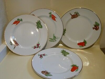 4 X  Alfred Meakin Glo-White Salad Vegetables Dinner Plates 10""