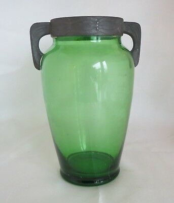Art Nouveau amphora shaped green glass vase with pewter rim and handles