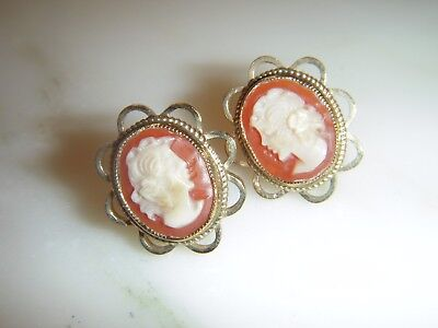 A Beautiful  Pair Of Vintage 9 Ct Gold Oval Cameo Earrings