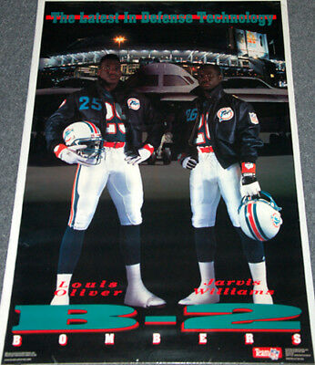 Louis Oliver Jarvis Williams B-2 BOMBERS Miami Dolphins 1990 Costacos POSTER