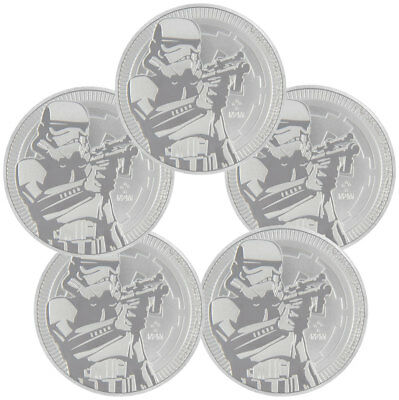 Lot of 5 2018 Niue Star Wars Classic Stormtrooper 1oz Silver BU Coins SKU50187