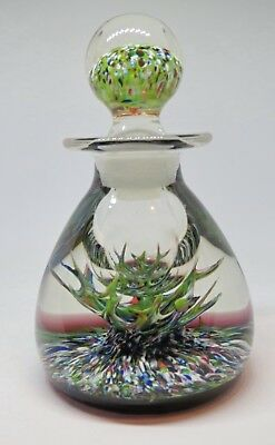 Peter Holmes glass ink/perfume bottle paperweight - PH cane & stag antler design