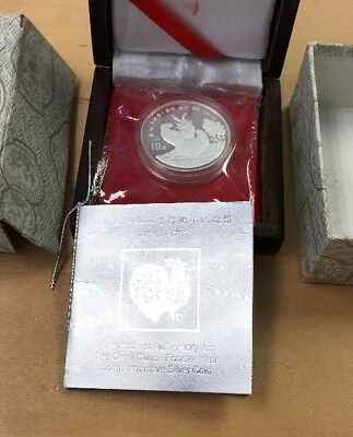 1993 CHINA(PRC) $10 Yr. Rooster Proof Lunar 32mm 1oz SILVER coinCOA & BOX A26