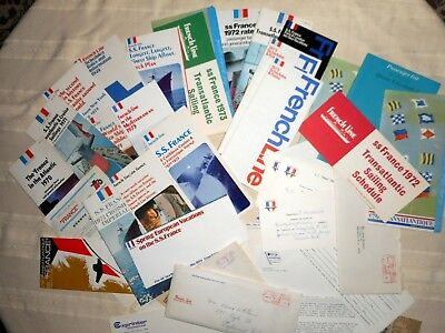 29 pc. 1970's SS France Pamphlets brochures deck plan pictures