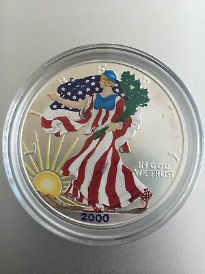2000 Colorized Front 1 oz Silver American Eagle US $1 Dollar
