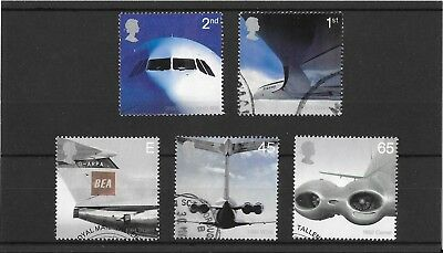 GB Stamps 2002 50th Anniversary Passenger Jet - Used Set SG 2284-2288