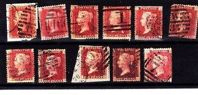 Great Britain -1d Red Stamps -Used