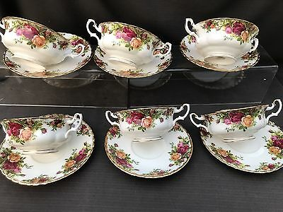 ROYAL ALBERT OLD COUNTRY ROSE Set Of 6 Soup Coups And Saucers