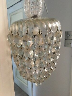 antique cut glass basket, bag  chandelier crystals