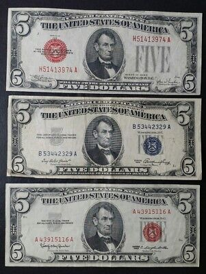 Lot of Three $5 United States Five Dollar Notes