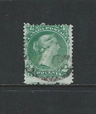 CANADA - #24 - 2c LARGE QUEEN VICTORIA WITH LIGHT GRID CANCEL (1868)