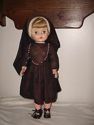 """Vintage Eegee Nun Jointed Doll Rubber  Head Hard  Body Eyes Open Close 19""""tall"""