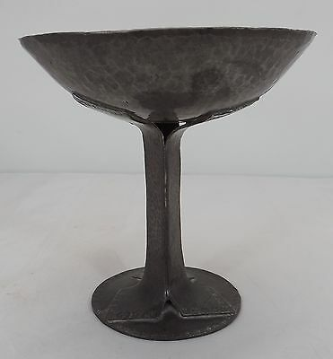Lovely Antique Hand-Hammered Pewter Tazza Dish Flower Motif Around Edges