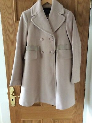 Tara Jarmon blush pink beige cashmere wool coat double breasted size 10