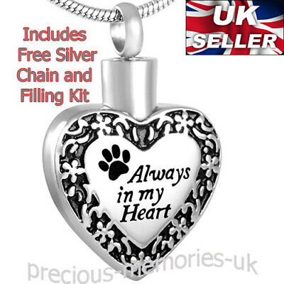 Dog/Cat Cremation Ashes Necklace: Pet Memorial Funeral Pendant Ash Urn Jewellery