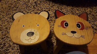 childs stools one bear onr cat never used soild wood very good condition