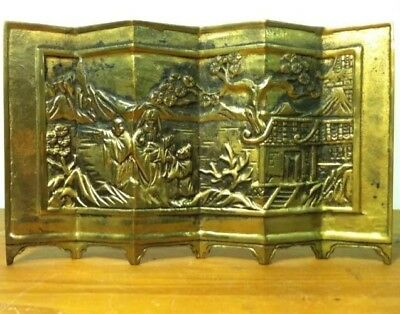 Rare Vtg Solid Brass Enesco Oriental Wall Divider Screen Mini Chinese Japanese