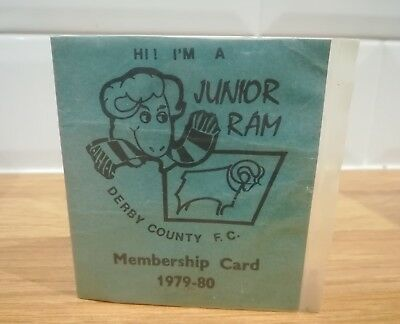 Rare Vintage Derby County Football Club Junior Ram Members Card 1979/80