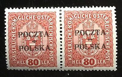 Poland 1919, Kraków issue, paire Fischer 43, MLH. Signed