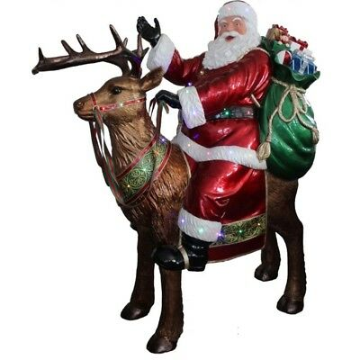 Indoor / Outdoor Santa Claus Riding Reindeer - 167cm