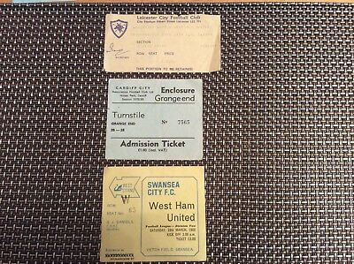 West Ham United - 1979/80 Away Tickets ( Leicester / Swansea  / Cardiff)