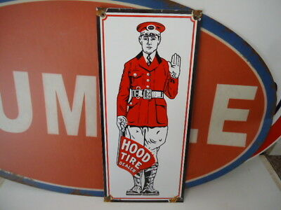 Large Vintage Hood Tire Dealer Porcelain Advertising  Sign