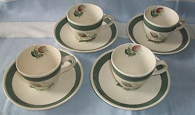 Crown Ducal Gay Meadow Design x4 Cups and Saucers