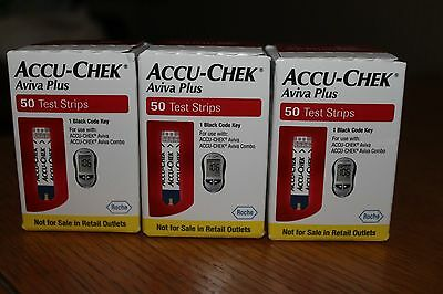 Accu- Chek Aviva Plus test strips 150, 3 boxes 50 ea.
