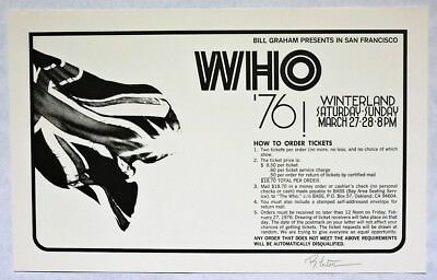 S700. Vintage: THE WHO at Winterland Concert Poster (1976) SIGNED, 1st PRINT ||
