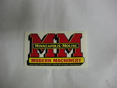 """Minneapolis Moline Decal 4"""" x 7 """" NEW FREE SHIPPING"""