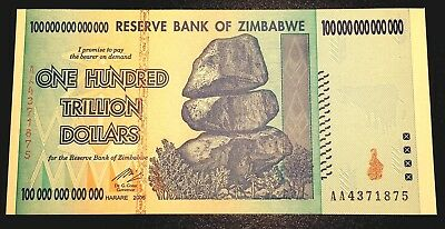 Zimbabwe $100 Trillion Dollar Banknote Mint In Protective Sleeve - 'aa' Prefix