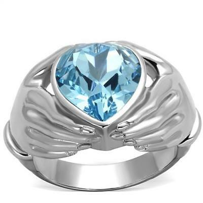 Women's Stainless Steel Top Grade Crystal Sea Blue Heart Shaped Ring TK1775