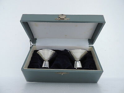 VINTAGE RARE 2p ART DECO JAPANESE SOLID STERLING SILVER GOBLETS CUPS SET JAPAN