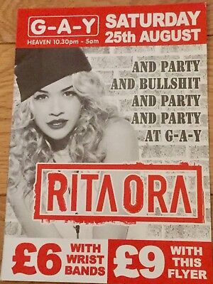 Rita Ora -How We Party G-A-Y Promo Heaven Flyer Aug 2012 - Your Song