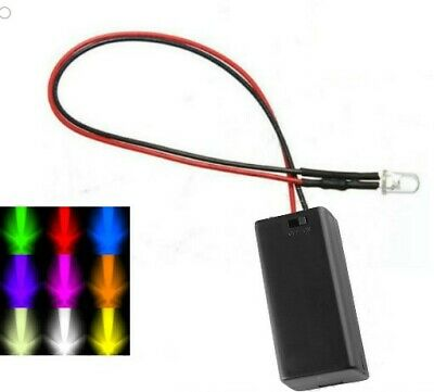 Flashing 3mm LED & Battery Box Multi Colours For Home/Workshop/Dummy Alarm Box