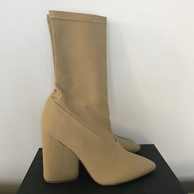 b366e710d8b YEEZY SEASON 4 Canvas Stretch Ankle Boots Shoes Heels Beige Size 36 ...
