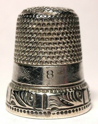Ketcham & McDougall (KMD) Sterling 2 Band Thimble w/ Leafy Swirls Design c.1880s