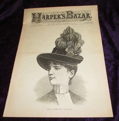 HARPER'S BAZAAR ~ September 1887 ~ hats MOURNING CLOTHING antique adver ~ 16pgs