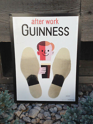after work GUINNESS  - Feet Up - Embossed Tin Beer Bar Advertising Sign