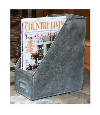Galvanized Metal Magazine Rack File Holder~Desk Organizer~Mail