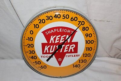 "Vintage 1950's Keen Kutter Tools Gas Oil Farm 12"" Metal & Glass Thermometer Sign"