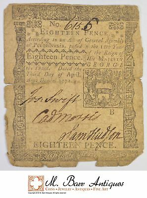 1772 18 Pence Pennsylvania Colonial Currency *389